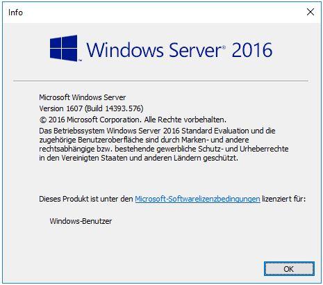 Evaluierungsversion Server 2016 in eine Vollversion