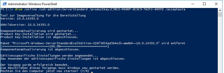Evaluierungsversion Server 2016 in eine Vollversion